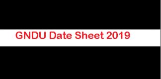 GNDU Date Sheet 2019
