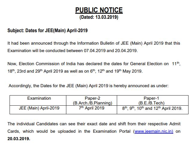 JEE Main Exam Date 2019