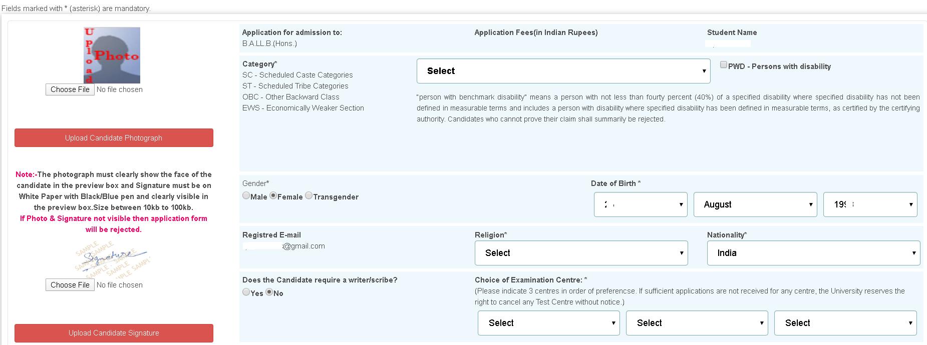 AILET Application Form Fee Details