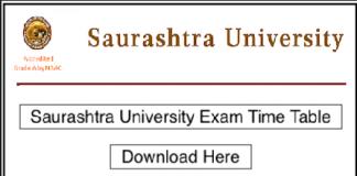 Saurashtra University Time Table 2019