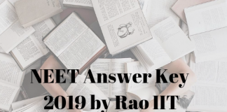 NEET Answer Key 2019 by Rao IIT