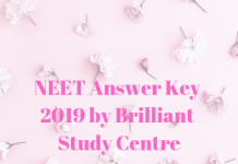 NEET Answer Key 2019 by Brilliant Study Centre