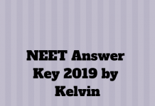 NEET Answer Key 2019 by Kelvin