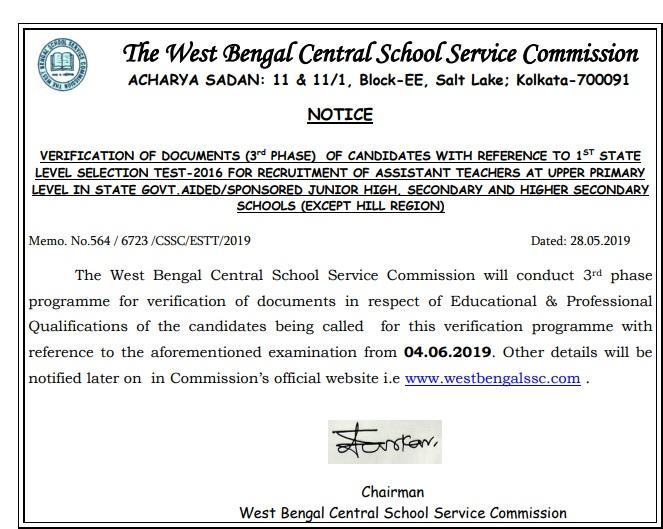 West Bengal SSC Upper Primary Merit