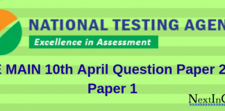 JEE Main 10th April Question Paper 2019