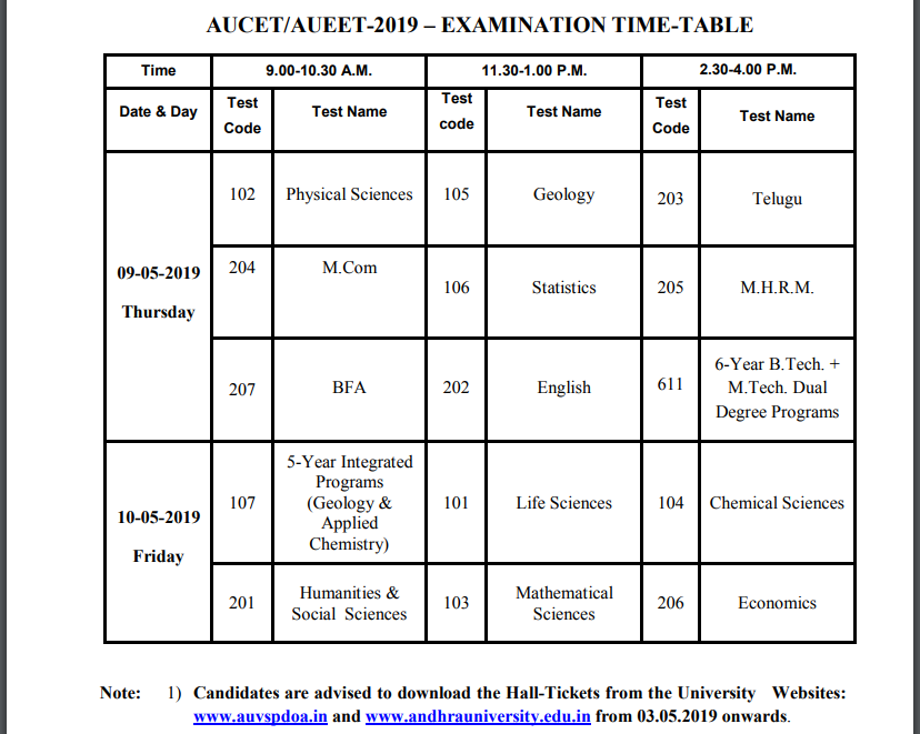 AUCET-AUEET Time Table 2019