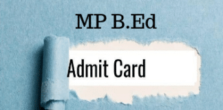 MP B.Ed Admit Card