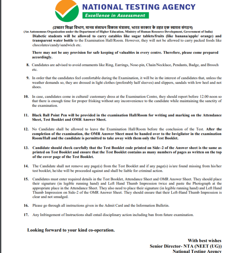 NTA Exam Guidelines