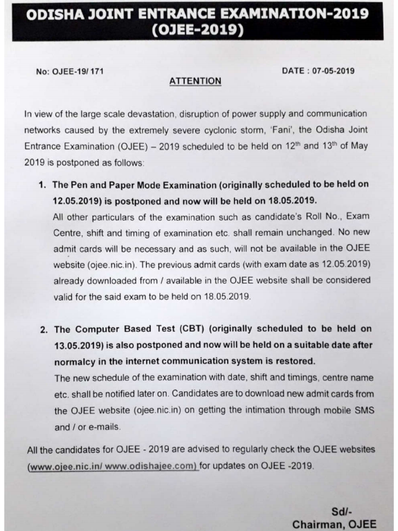 OJEE Exam Date Change Notice 2019
