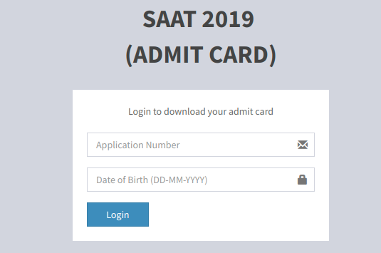 SAAT Admit Card 2019 Login