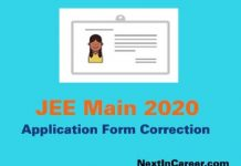 JEE Main Application Form Correction 2020