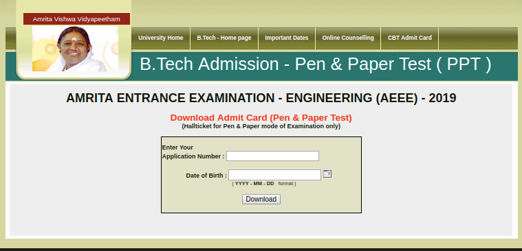 AEEE Offline Admit Card Download 2019