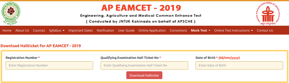 AP EAMCET Admit Card 2019
