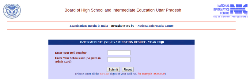 UP Board 12th Result Login Section