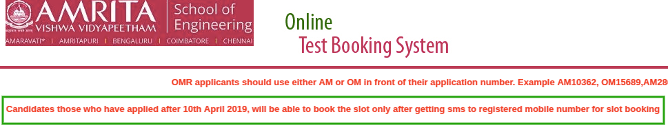 AEEE 2019 Slot Booking 2019 Update
