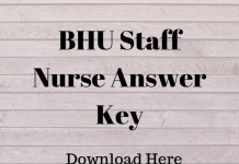 BHU Staff Nurse Answer Key