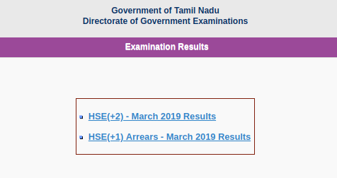 TN HSE Class 12th Board Result 2019
