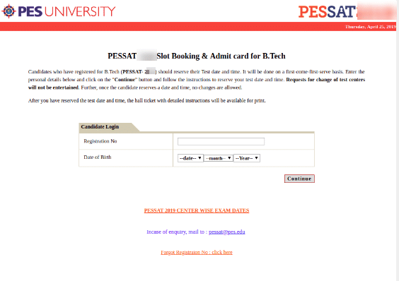 PESSAT Slot Booking Process