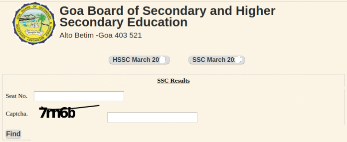 Goa Board SSC Result Login Section