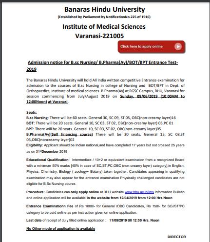 BHU B.Sc Nursing 2019 Official Notification
