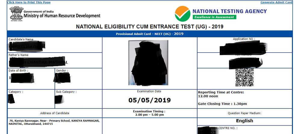 Latest NEET 2019 Admit Card