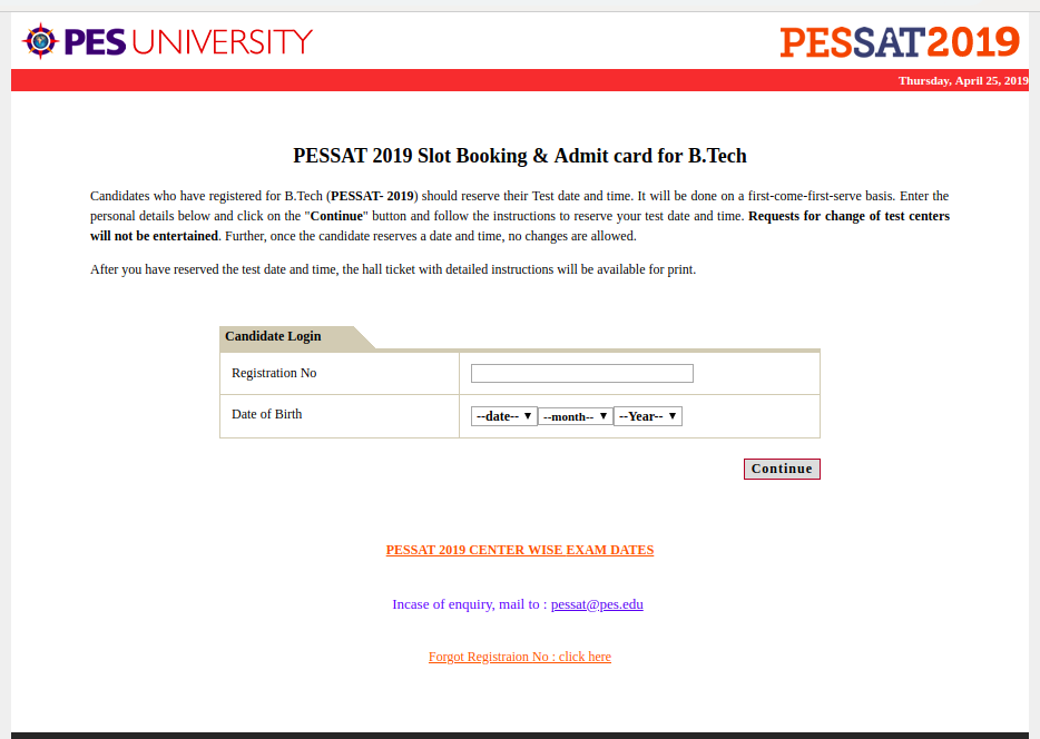 PESSAT Seat Allotment 2019