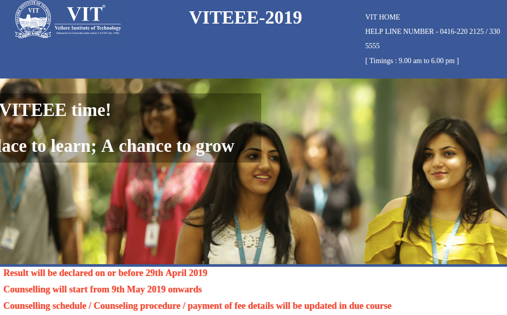 VIT Result|Counselling Date 2019