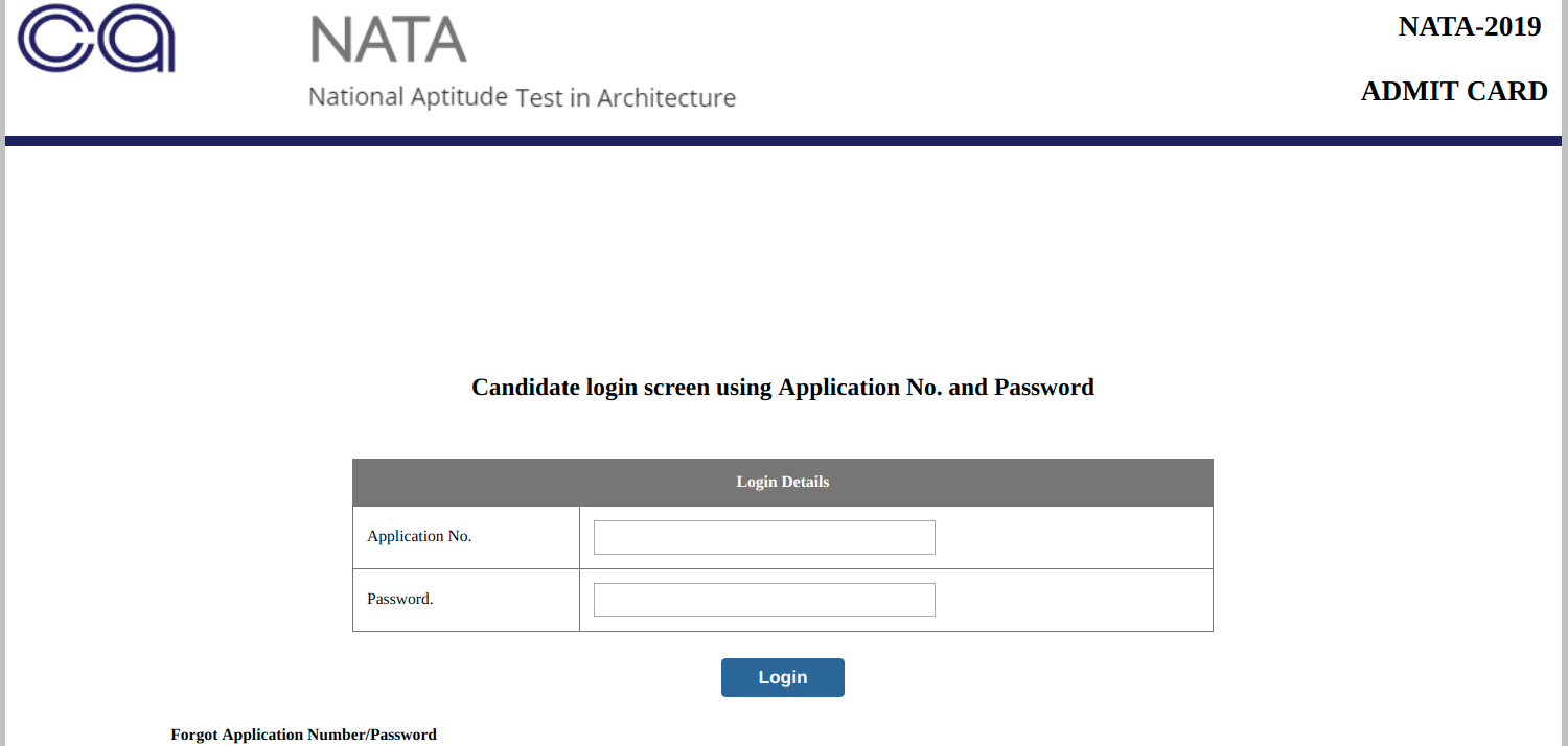 NATA Admit Card 2019