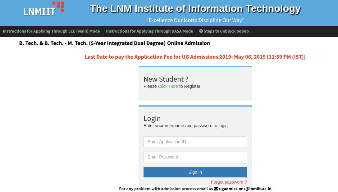 LNMIIT Admission 2019