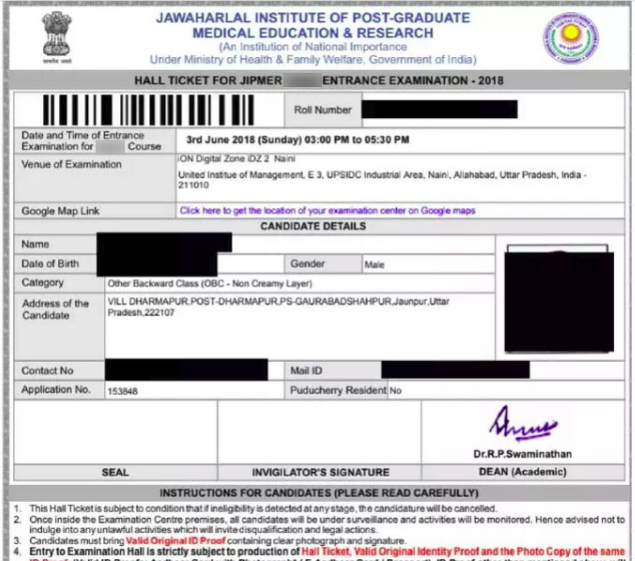 JIPMER BSc Admit Card 2019
