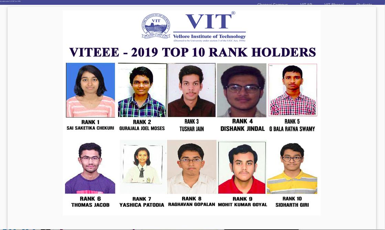 VITEEE Top Rank Holder 2019