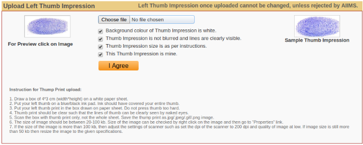 AIIMS MBBS Left Thumb Imprsession
