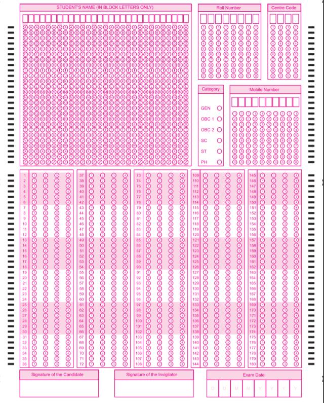 neet 2019 omr sheet sample