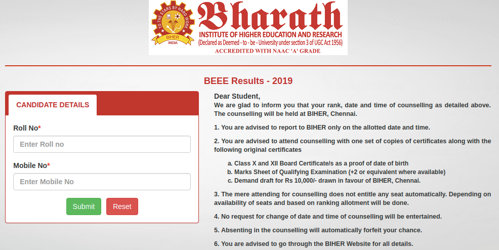 Bharat University Counselling Letter 2019 Download