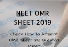 NEET OMR SHEET 2019
