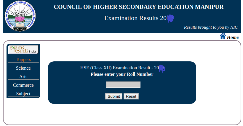 Manipur Board 12th Result Login Section
