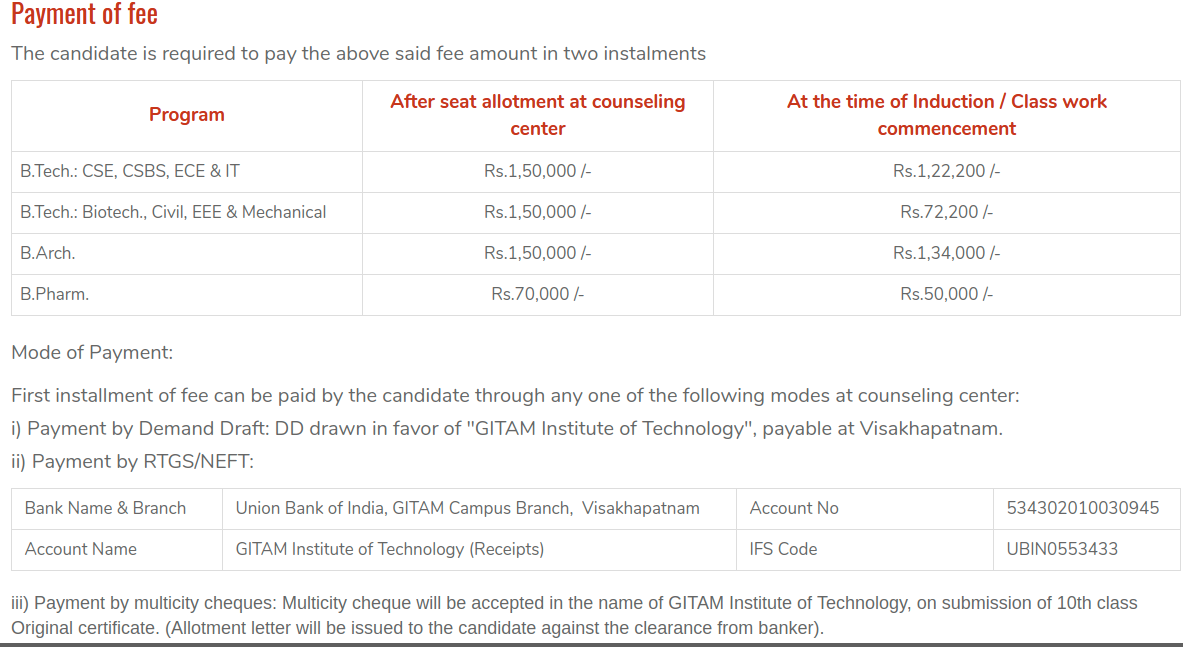 GITAM GAT 2019 Fee Payment