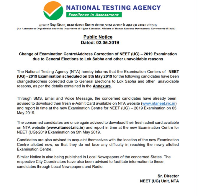 NEET 2019 Examination Centre Change due to elections Notice
