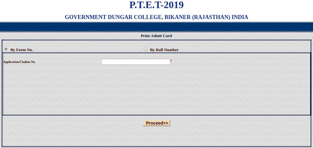 PTET Admit Card Download 2019