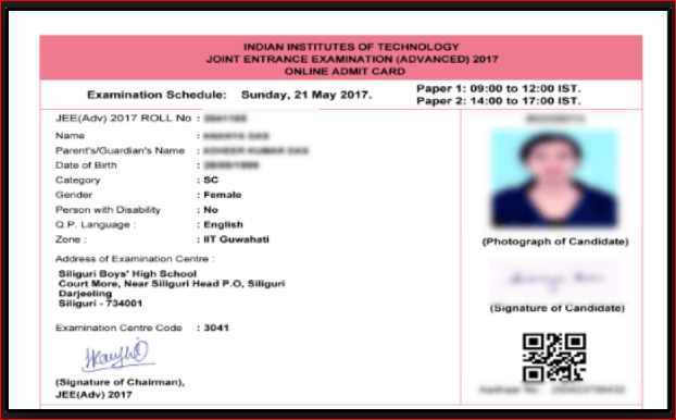 jee advanced 2019 admit card download