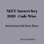 NEET Answer Key 2019 Code Wise