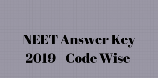 NEET Answer Key 2019 Code Wise