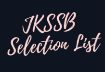 JKSSB Selection List