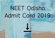 NEET Odisha Admit Card 2019