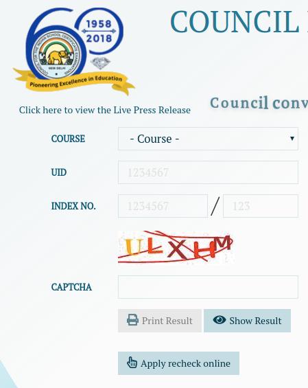 ICSE, ISC Board Result 2019 login