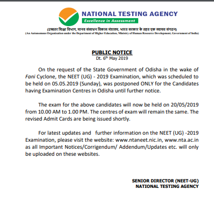 NEET 2019 Admit Released for Odisha and Karnataka State Candidates