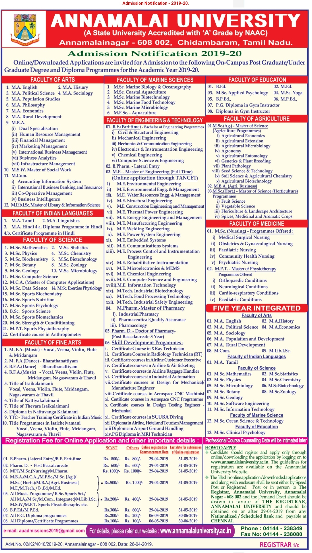 Annamalai University B.Ed 2019