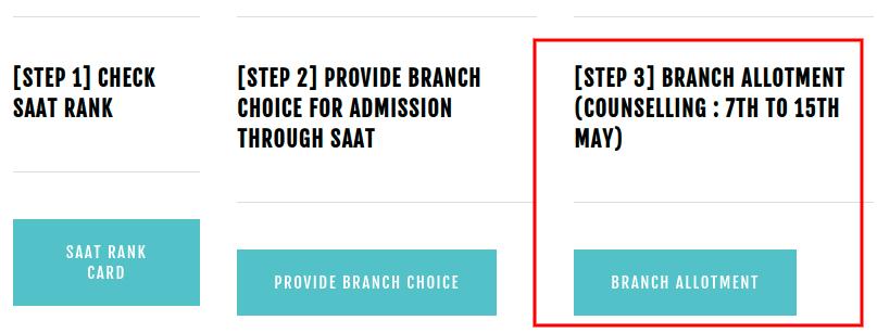 SAAT 2019 Branch Allotment Notice