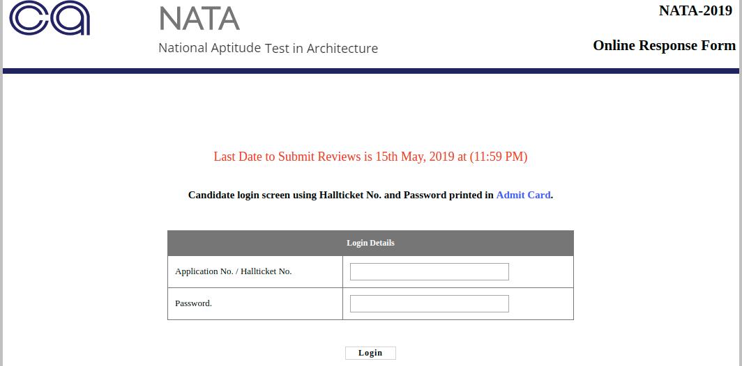 NATA Response Sheet 2019