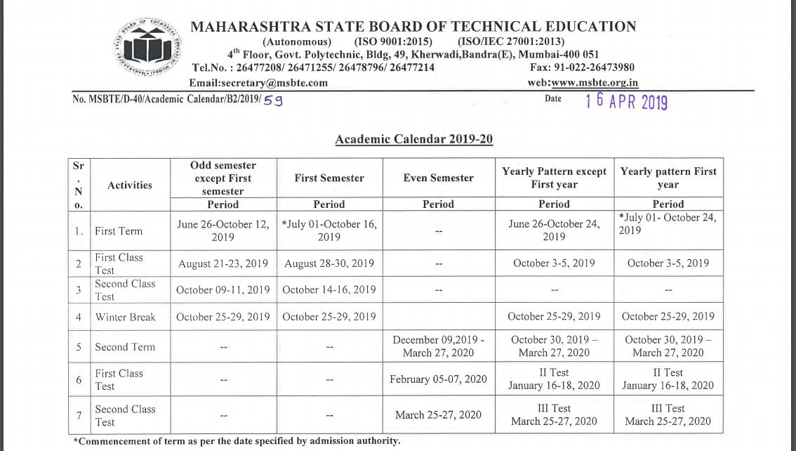 MSBTE Academic Calendar 2019-2020